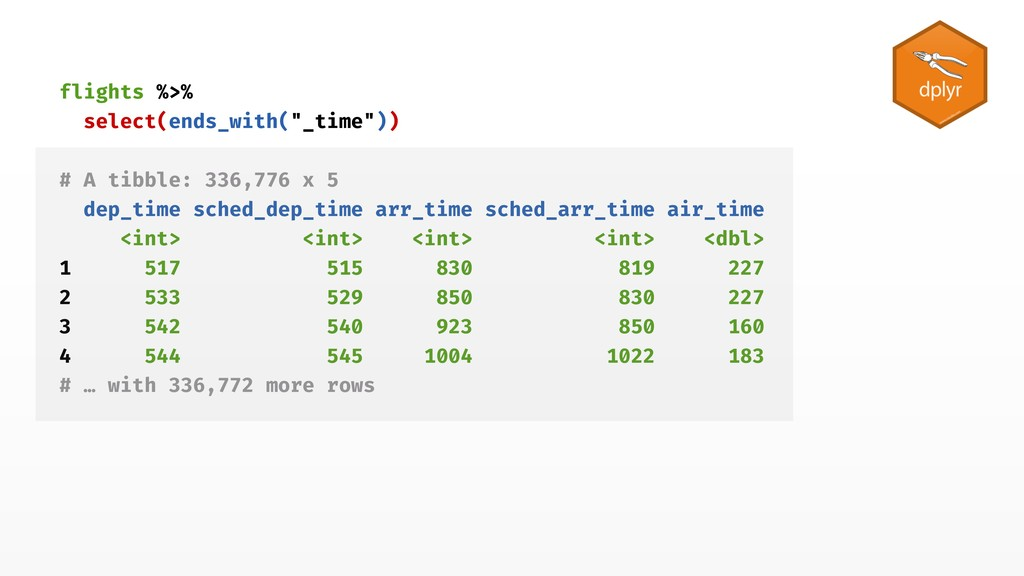 """flights %>% select(ends_with(""""_time"""")) # A tibb..."""