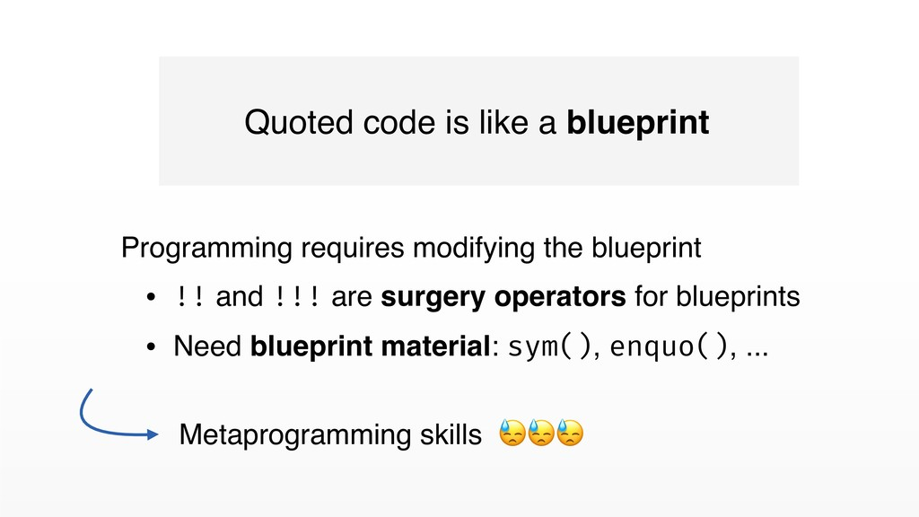 Quoted code is like a blueprint Programming req...