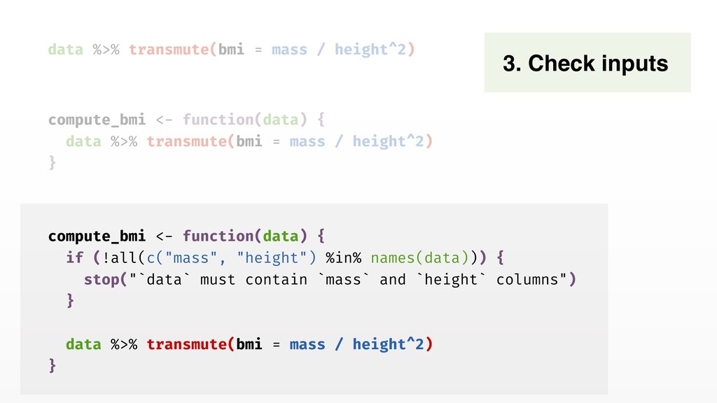 data %>% transmute(bmi = mass / height^2) 3. Ch...