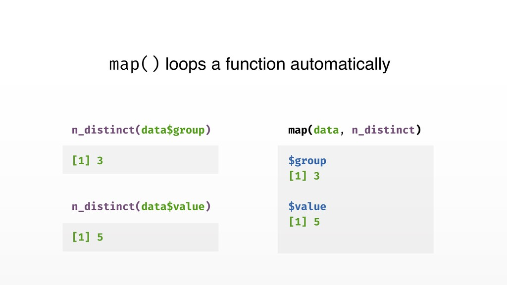 map() loops a function automatically map(data, ...