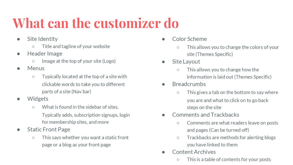 What can the customizer do ● Site Identity ○ Ti...