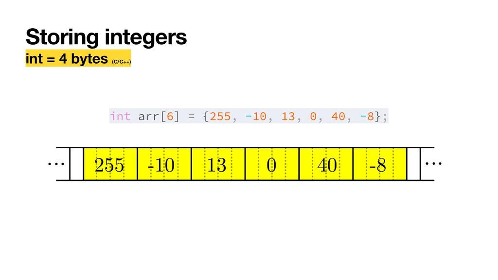 Storing integers int = 4 bytes (C/C++) int arr[...