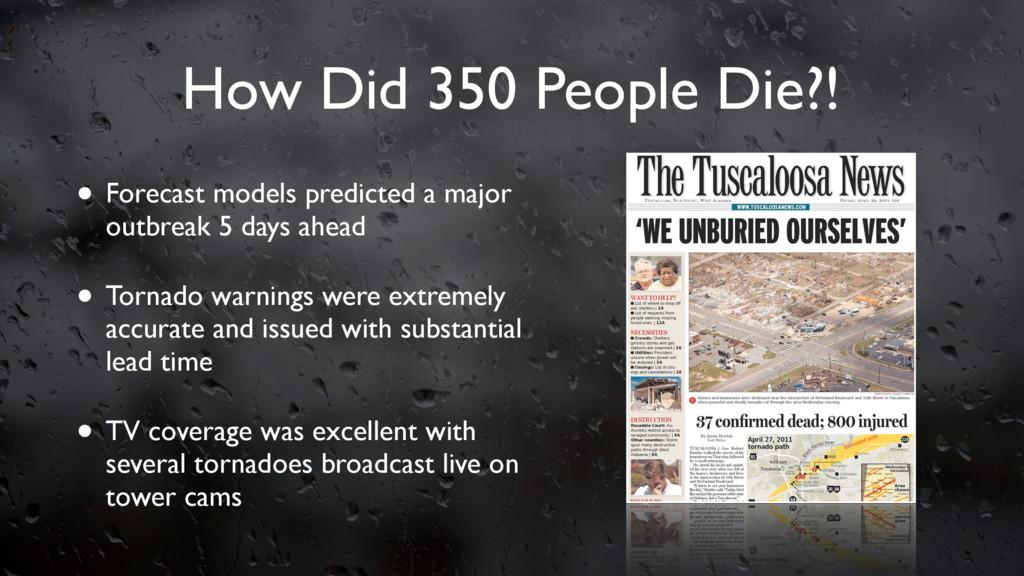 How Did 350 People Die?! • Forecast models pred...