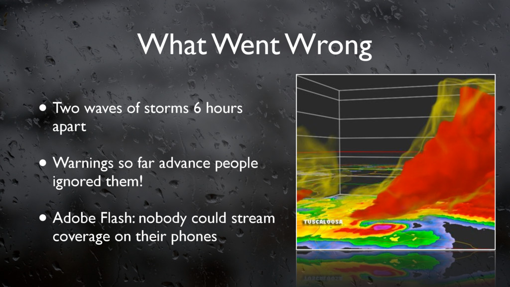 What Went Wrong • Two waves of storms 6 hours a...