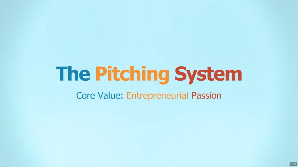 The Pitching System Core Value: Entrepreneurial...