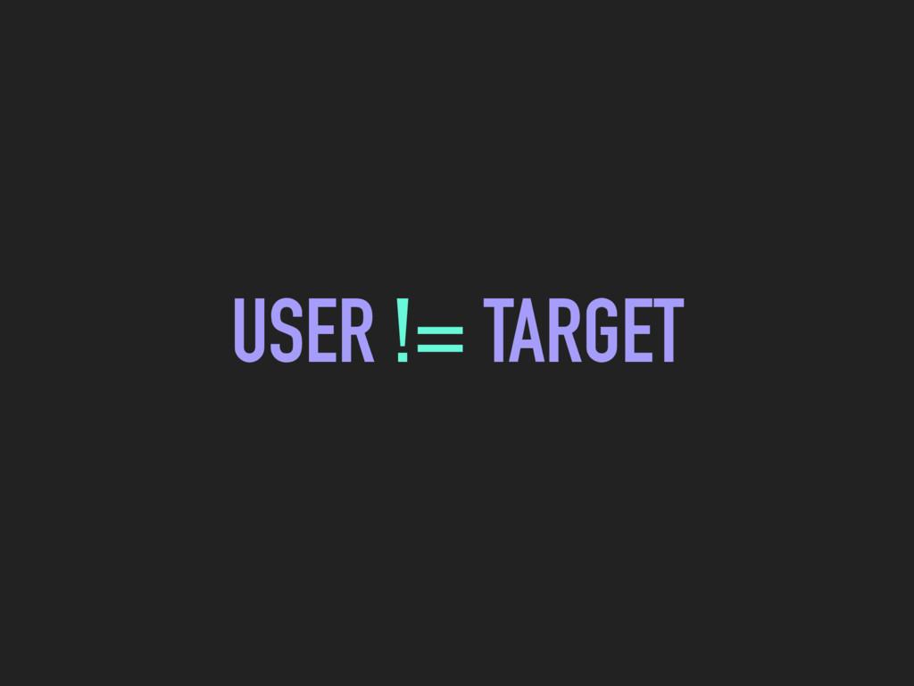 USER != TARGET