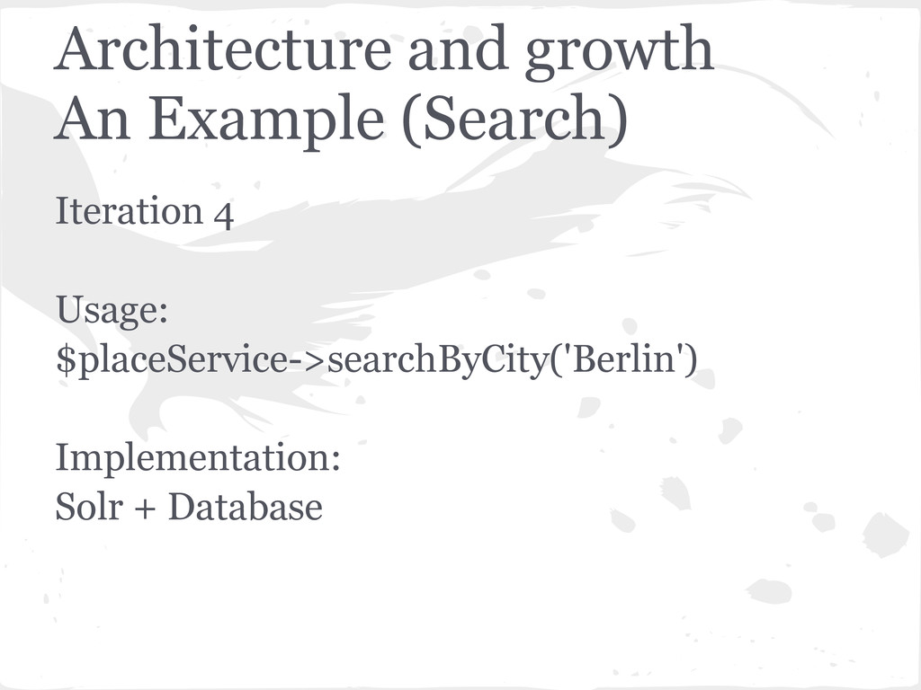 Iteration 4 Usage: $placeService->searchByCity(...