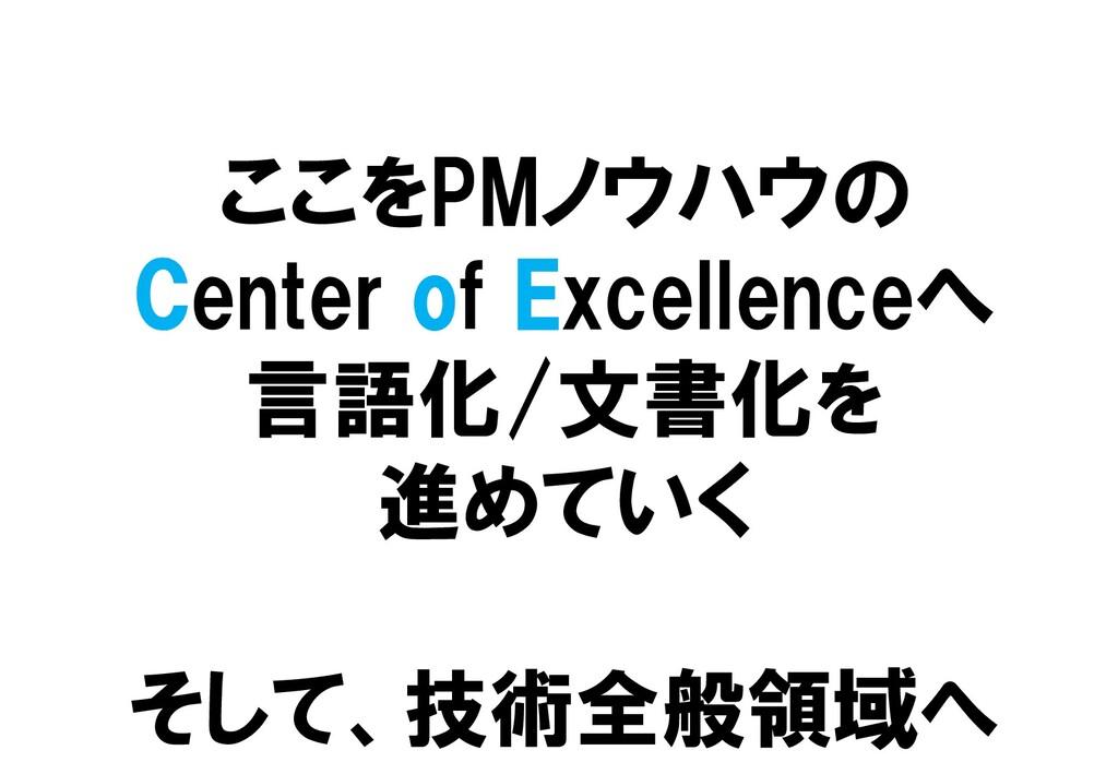 ここをPMノウハウの Center of Excellenceへ 言語化/文書化を 進めていく...