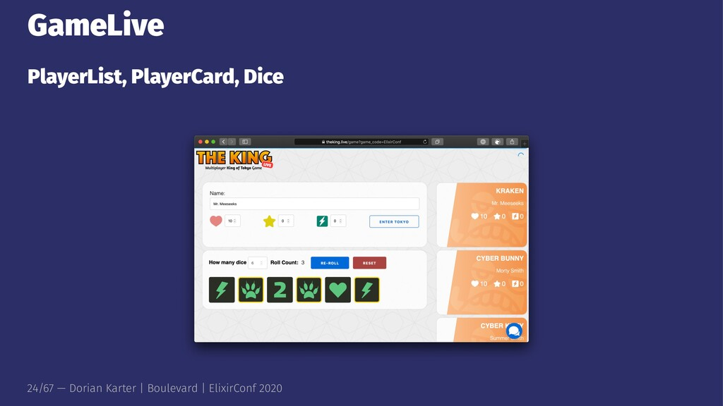GameLive PlayerList, PlayerCard, Dice 24/67 — D...