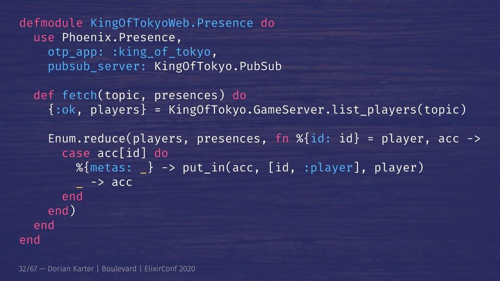 defmodule KingOfTokyoWeb.Presence do use Phoeni...