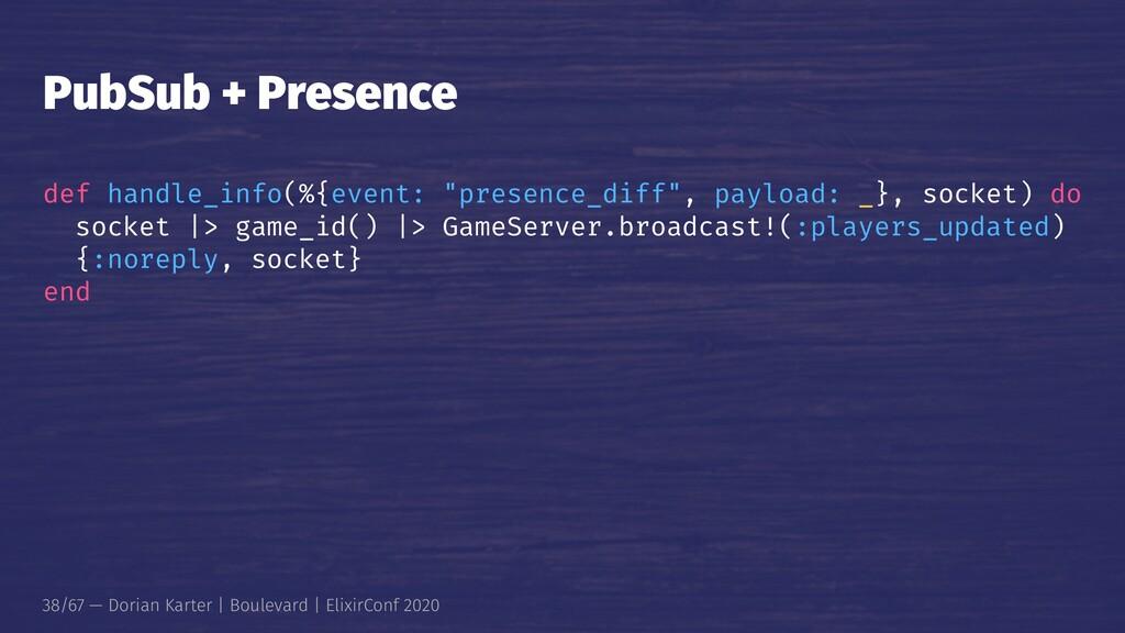"PubSub + Presence def handle_info(%{event: ""pre..."
