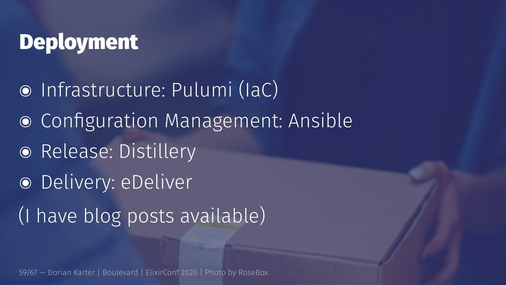 Deployment ๏ Infrastructure: Pulumi (IaC) ๏ Con...