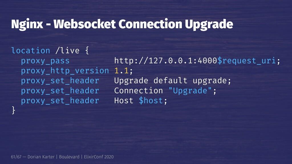 Nginx - Websocket Connection Upgrade location /...