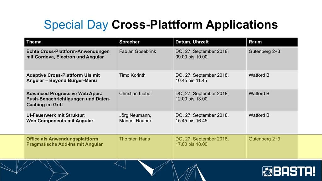 Special Day Cross-Plattform Applications Thema ...