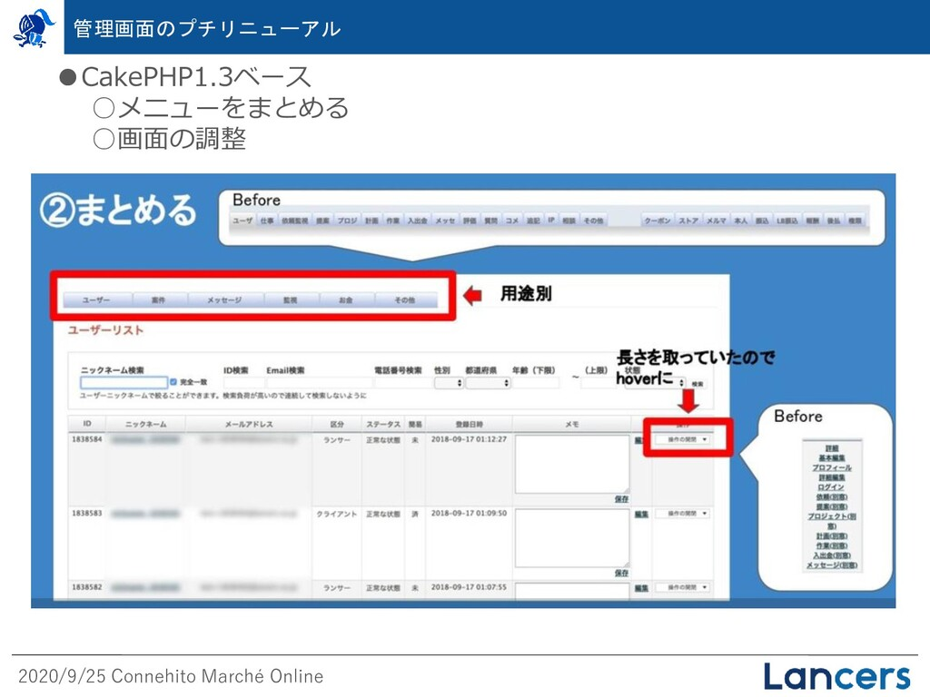 2020/9/25 Connehito Marché Online ●CakePHP1.3ベー...