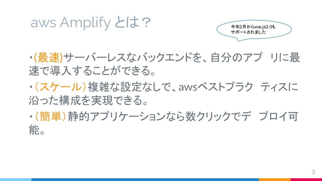 aws Amplify とは? 3 ・(最速)サーバーレスなバックエンドを、自分のアプ リに最...