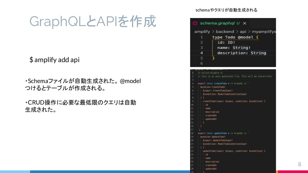 GraphQLとAPIを作成 8 $ amplify add api ・Schemaファイルが...