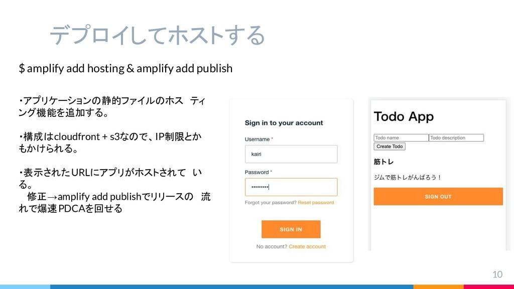 デプロイしてホストする 10 $ amplify add hosting & amplify ...