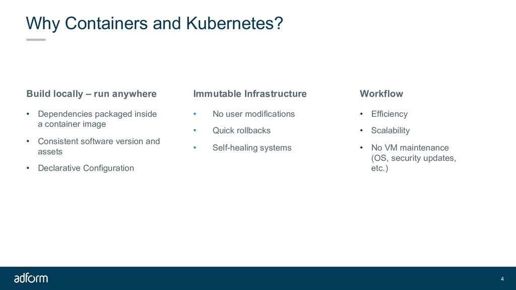 Why Containers and Kubernetes? 4 Build locally ...
