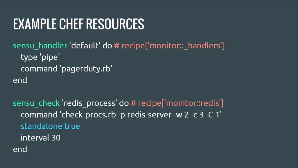 EXAMPLE CHEF RESOURCES sensu_handler 'default' ...