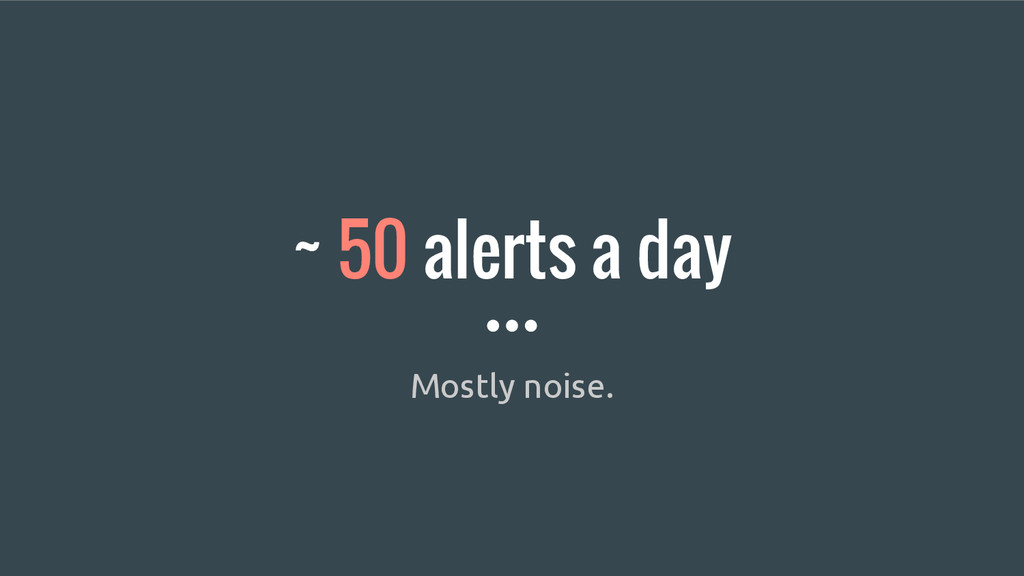 ~ 50 alerts a day Mostly noise.