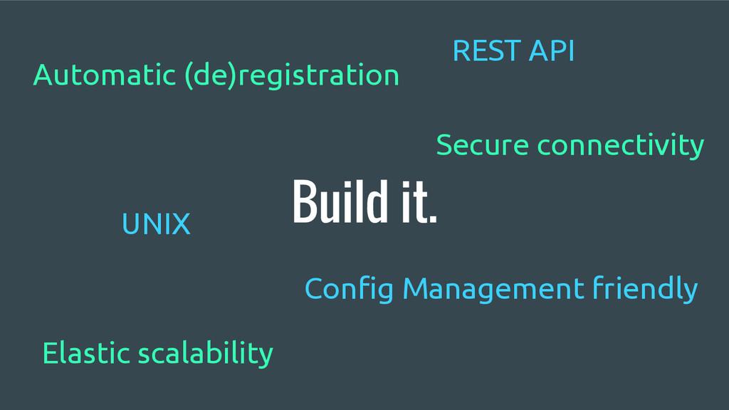 Build it. Automatic (de)registration Config Man...