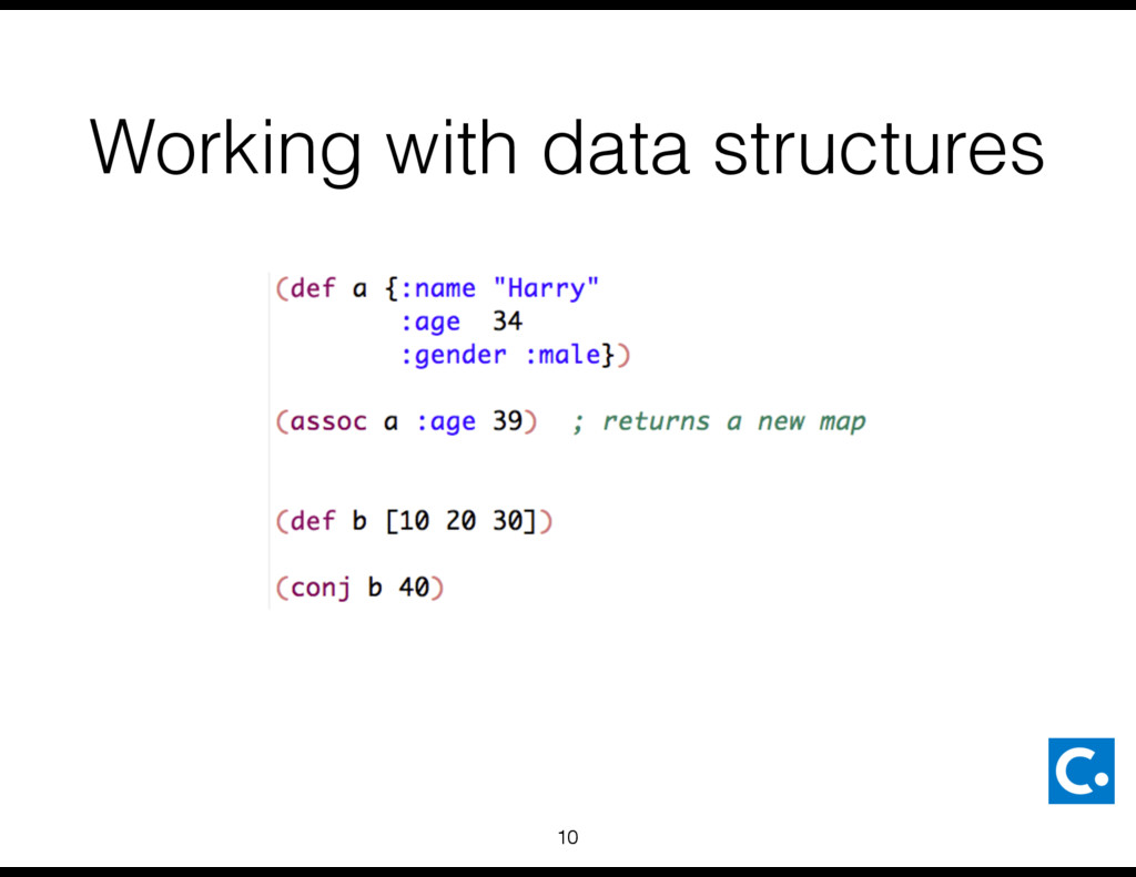 Working with data structures 10
