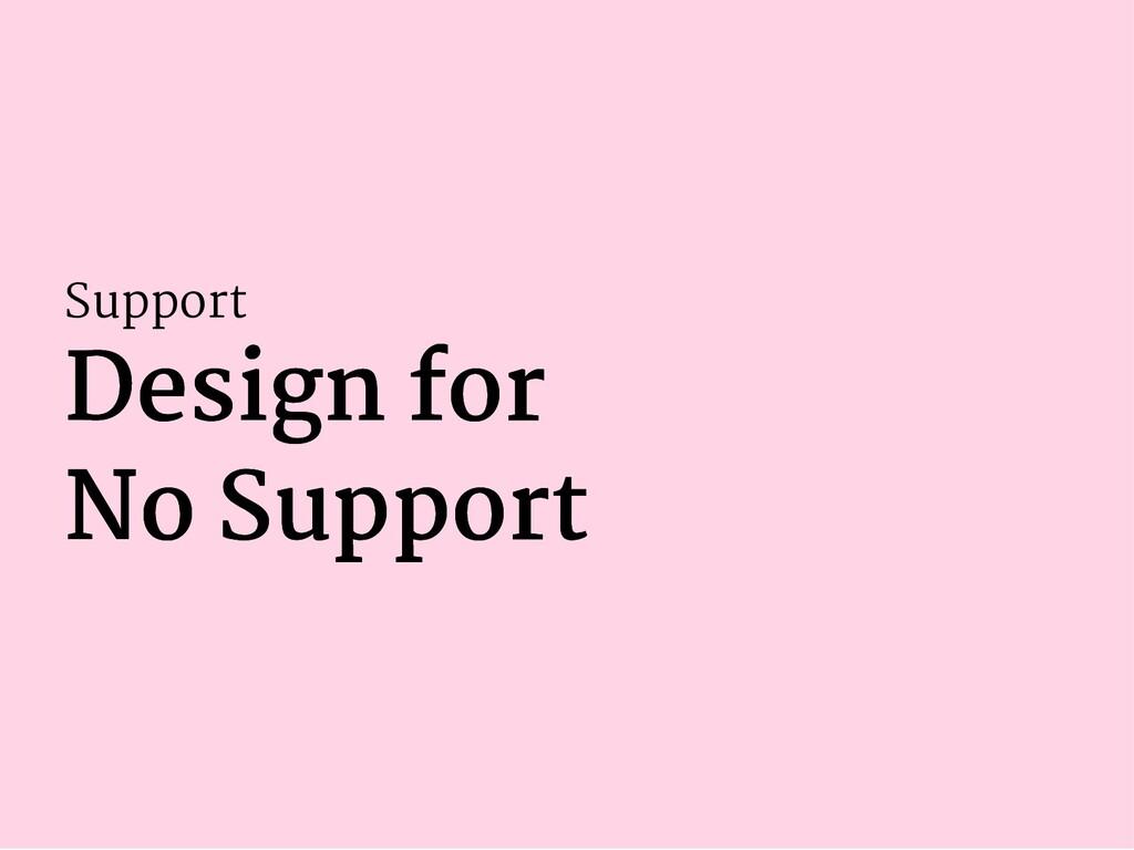 Support Design for Design for No Support No Sup...