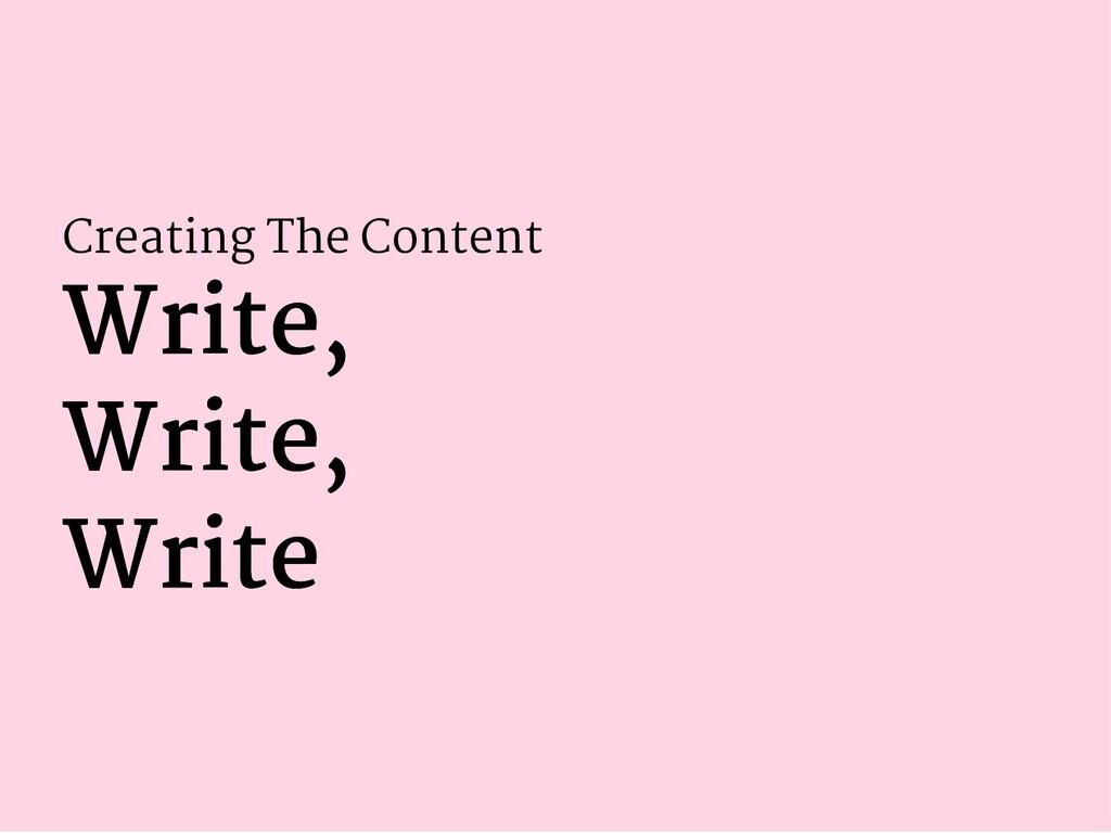 Creating The Content Write, Write, Write, Write...