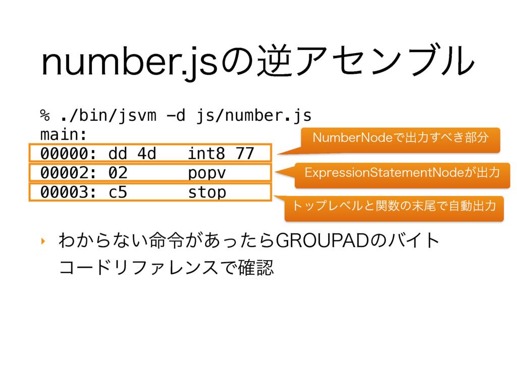 OVNCFSKTͷٯΞηϯϒϧ % ./bin/jsvm -d js/number.js m...