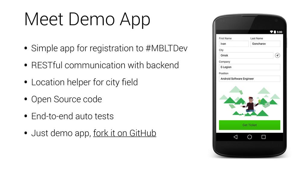 • Simple app for registration to #MBLTDev • RES...