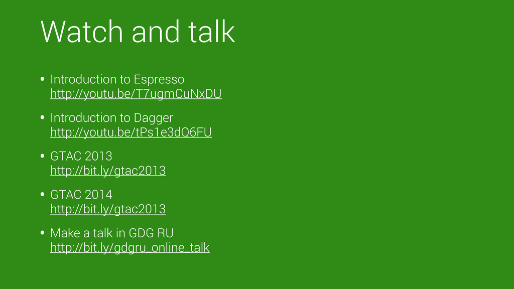 Watch and talk • Introduction to Espresso http...