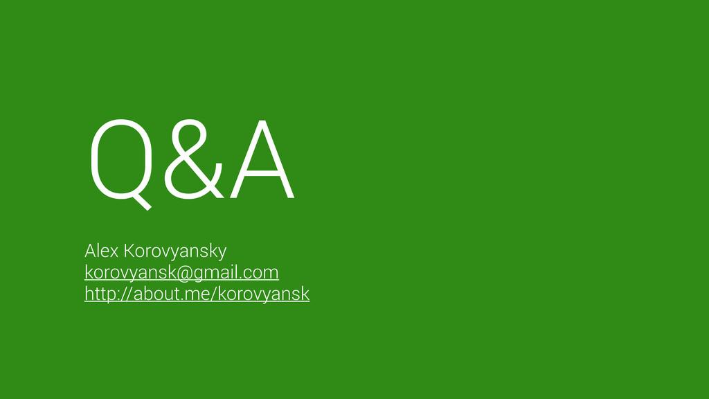 Q&A  Alex Korovyansky korovyansk@gmail.com htt...