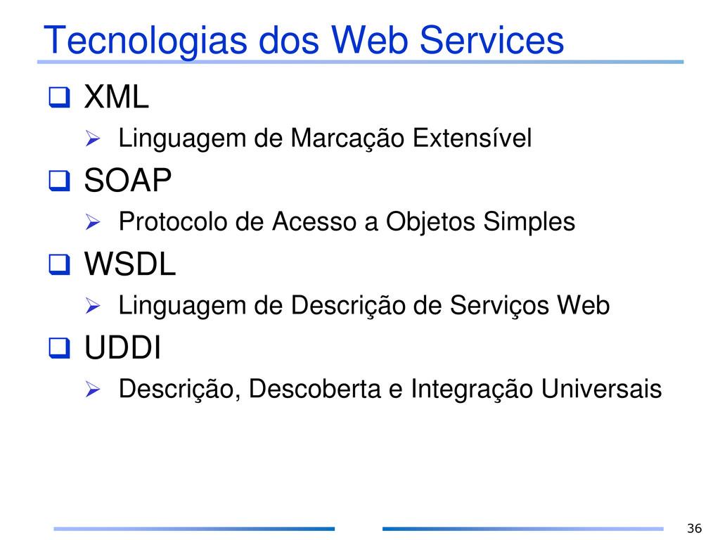 Tecnologias dos Web Services  XML  Linguagem ...