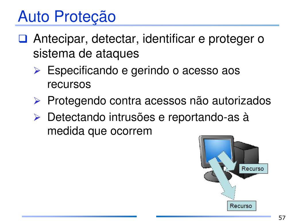 Auto Proteção  Antecipar, detectar, identifica...
