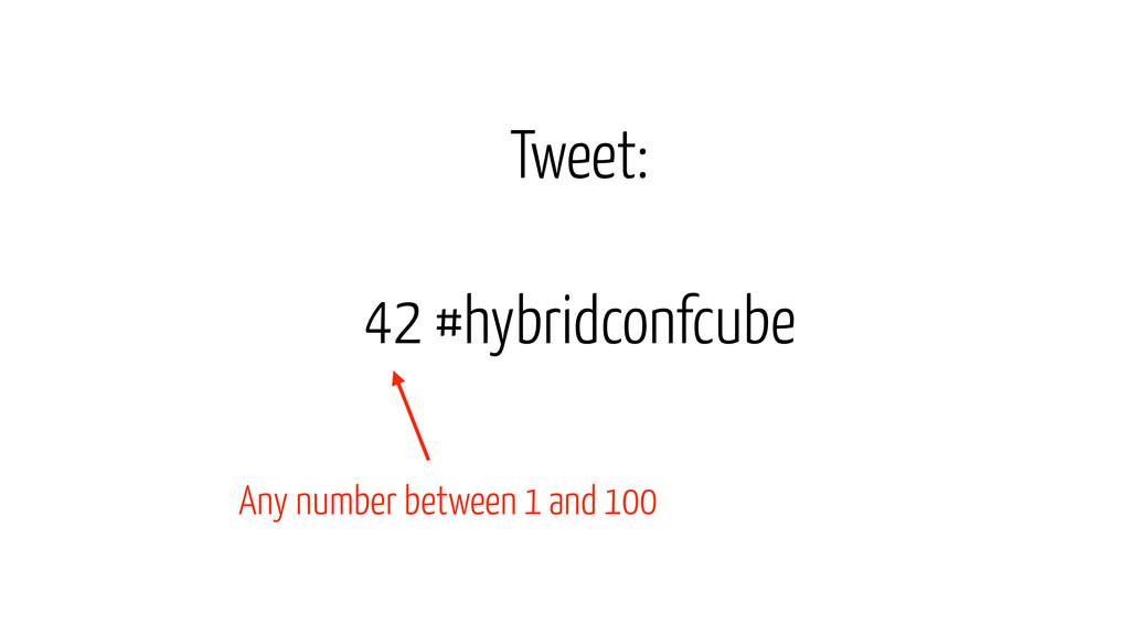 42 #hybridconfcube Tweet: Any number between 1 ...