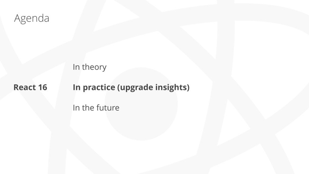 Agenda In theory In practice (upgrade insights)...