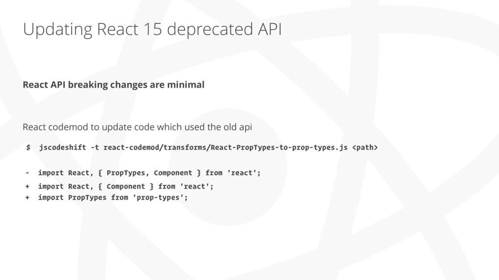 Updating React 15 deprecated API React API brea...