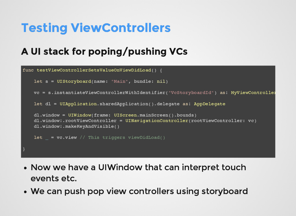 Testing ViewControllers Testing ViewControllers...