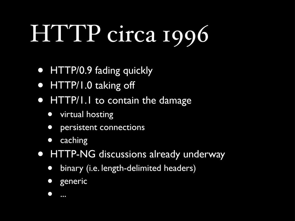 HTTP circa 1996 • HTTP/0.9 fading quickly • HTT...