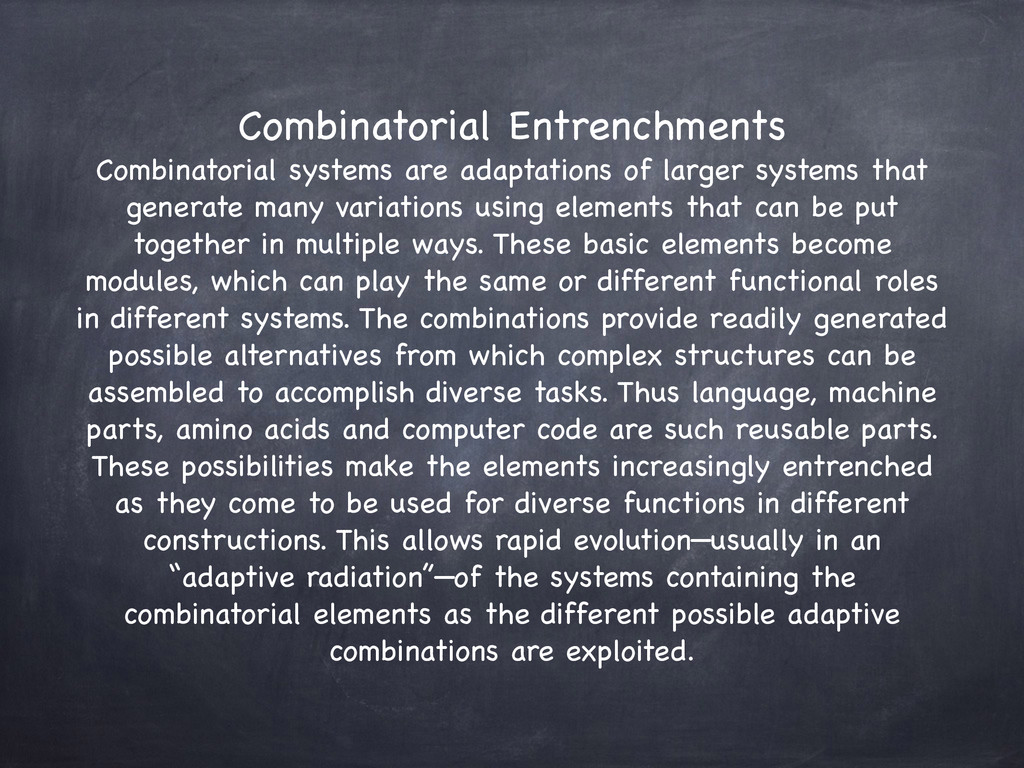 Combinatorial Entrenchments  Combinatorial sys...