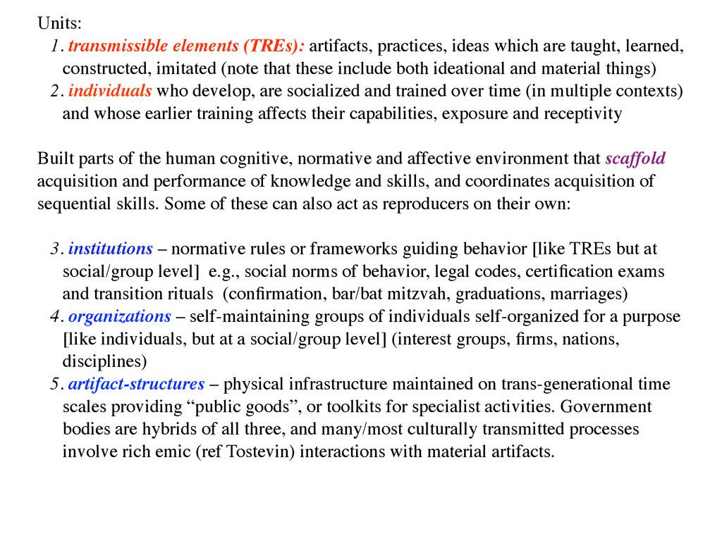 Units:   1. transmissible elements (TREs): ar...