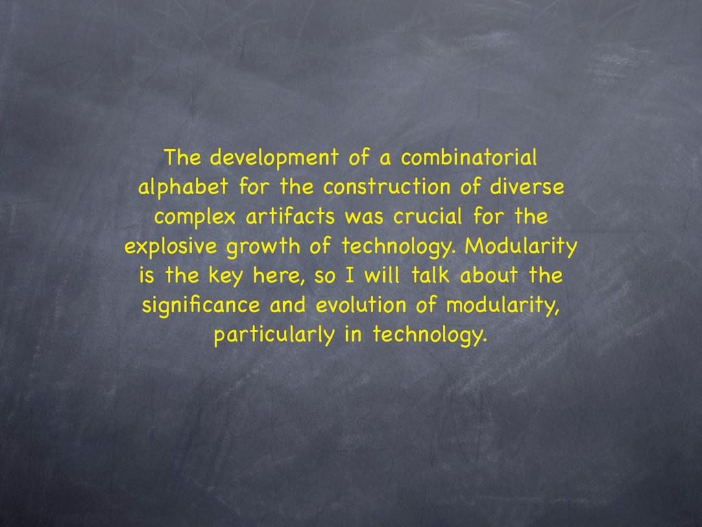 The development of a combinatorial alphabet for...
