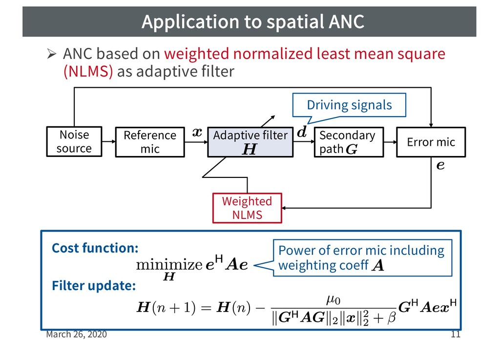 Application to spatial ANC Ø ANC based on weigh...