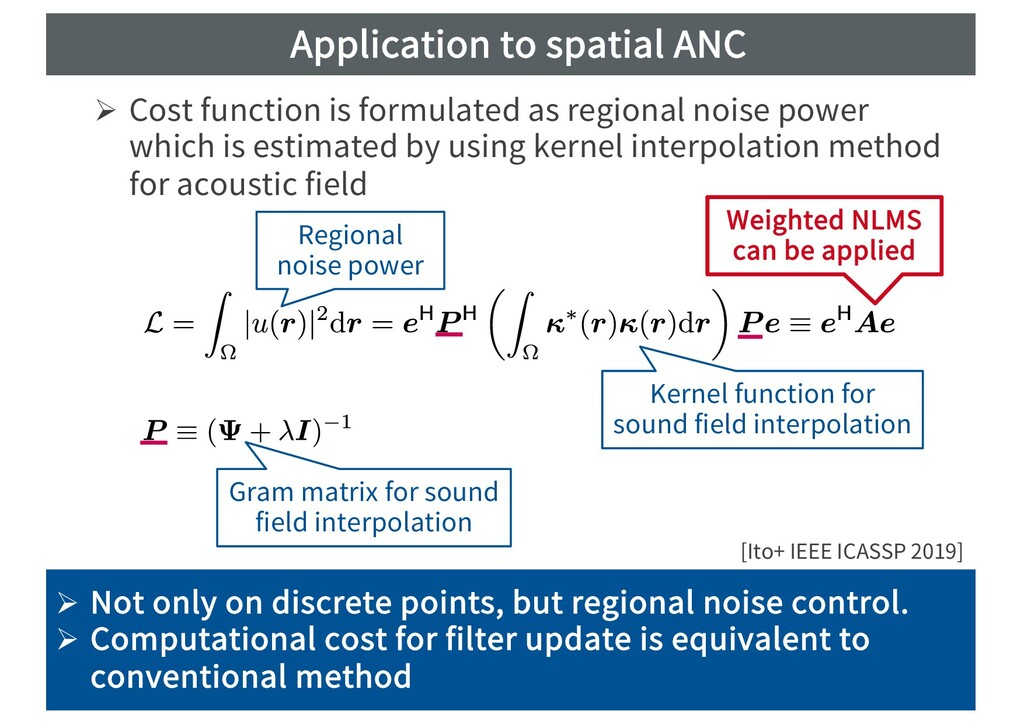 Application to spatial ANC Ø Cost function is f...