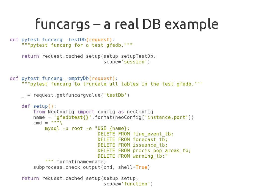 funcargs – a real DB example