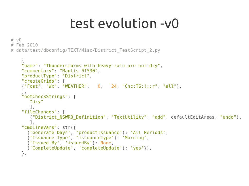 test evolution -v0