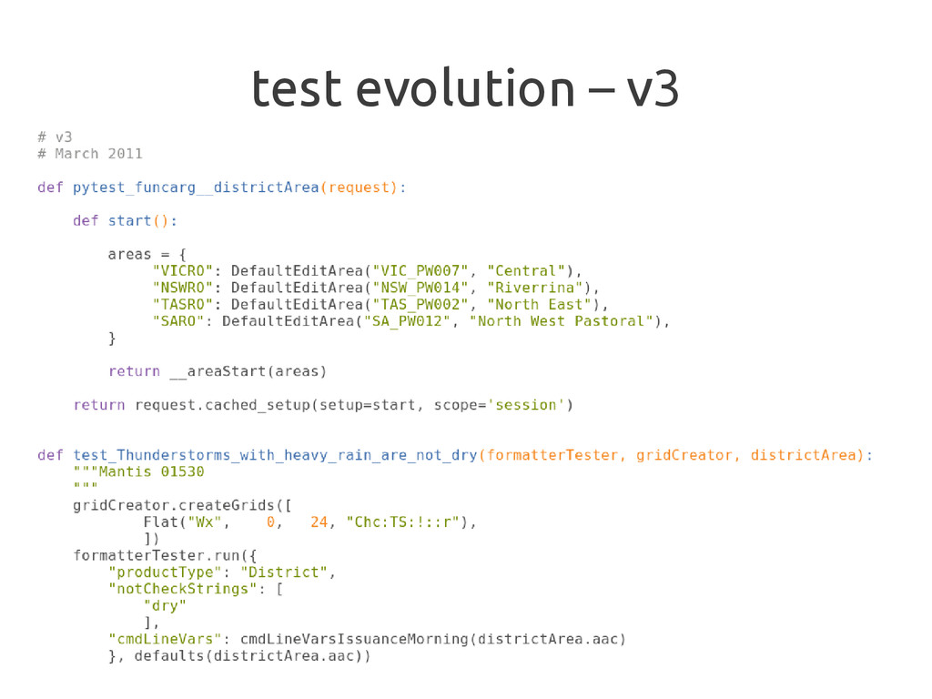 test evolution – v3