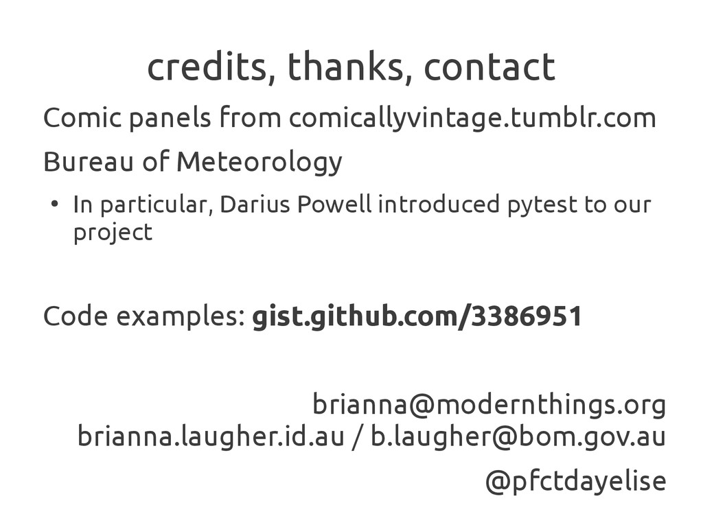 credits, thanks, contact Comic panels from comi...