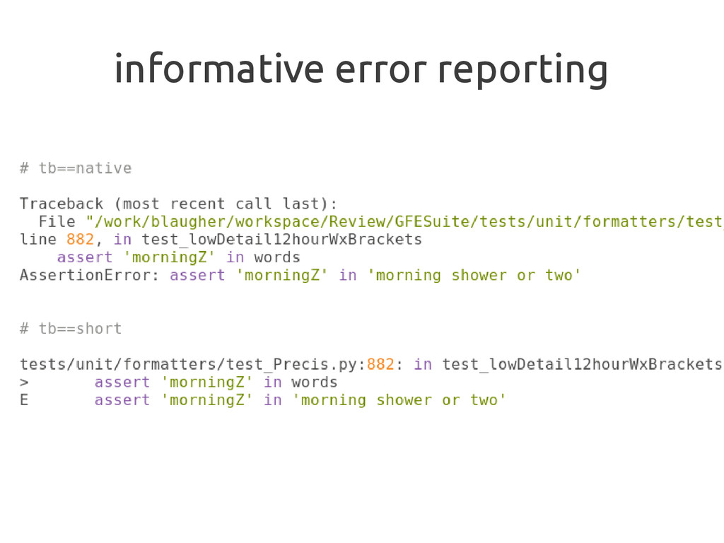 informative error reporting